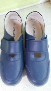 Damart blue leather? Hook & loop style fastening shoes size 6e