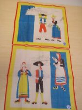 2 Vintage Swiss Handkerchiefs - Appenzell Theme - Vaud + Ticino - Mint