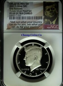 2021 S NGC Proof 69 UCAM .999 Silver Kennedy Half Dollar ☆☆ First Release