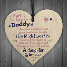 First Love Daddy Fathers Day Dad Gift From Daughter Hanging Wood Heart Sign