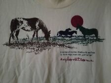 VTG. 90's EXPLORATIONS NATURE HORSE WILD AND FREE QUOTE GRAPHIC T-SHIRT-XL-RARE