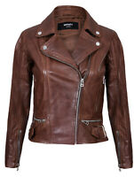 Ladies Womens Real Leather Fitted Vintage Biker Style Zip Fashion Jacket