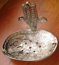 Moroccan silver colour  engraved heavy  oval soap dish + hand+ holes wall mount