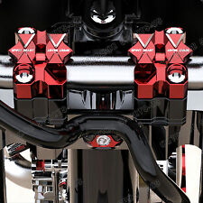 "7/8"" 1 1/8"" Widen CNC Billet Handle Bars Fat Bar Mount Clamps Riser For Honda"