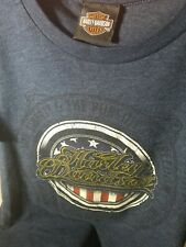 Harley Davidson dealership Women's Blue Tee Shirt size small