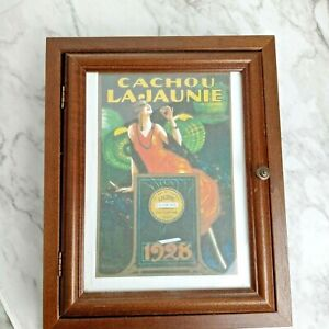 """Vintage Wooden Picture Hidden Key Cabinet Holder Wall Hanging 9"""" x 11"""""""