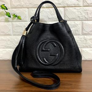 Authentic GUCCI SOHO Leather Black Shoulder Hand bag Tote Tassel Fringe Re-Color