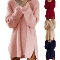 JP_ Womens Oversized Pullover Sweater Long Tops Ladies Zip Jumper Mini Dress S
