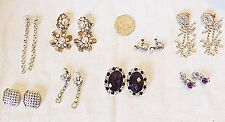 *SUPERIOR VINTAGE EARINGS 6 DIAMANTE, 1 FAUX PEARLS, 1 MARCOSITE, 8 PAIRS TOTAL