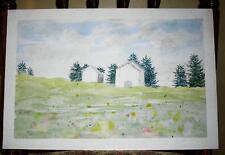 VINTAGE FOLK ART WHITE HOUSES FLOWERS PRIMITIVE MINIMALIST W/C ART PAINTING