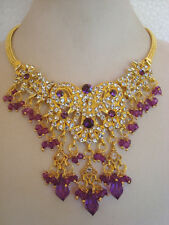 Bollywood fashion temple jewelry gold tone stone design necklace set & earring