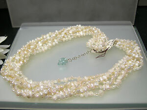 Multi strands freeform oval flat Pearl designer necklace silver clasp 18+2 inch