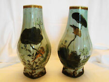 "Signed Pair Antique Japan Celedon Vases 19th c 11 1/4""h"