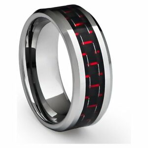 Tungsten Wedding Engagement Anniversary Band Black & Red Carbon Fiber Inlay Ring