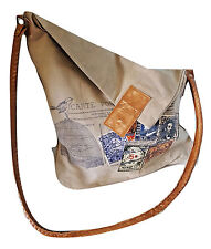 Recycled Canvas Olive Tote Reclaimed Messenger Shoulder Bag Leather Cross Body