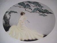 "Vintage Art Deco Era Print Titled ""The Song Bird"" w/ Pretty Woman & Bird *"