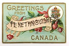 Greetings From Canada Banner Mica Writing Penetanguishene Postcard N074