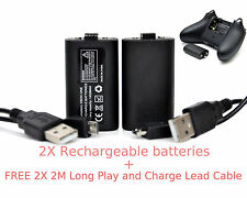 2X XBOX ONE Rechargeable Battery Pack + 2X 2M Long Lead Cable For Controller Pad
