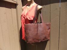 "ADRIENNE VITTADINI Brown Leather Handbag Tote Contrast Stitching  - 15"" x 11.5"""