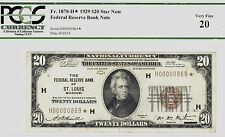 "RARE 1929 $20 ((STAR)) ST LOUIS PCGS VF20  24,000 PRINTED ""BROWN""  NATION CURREN"