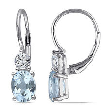 Sterling Silver Blue Topaz White Sapphire Leverback Earrings 3.84 Ct Cttw