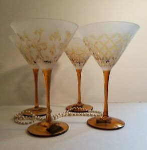"""Mikasa """"Cheers Artistry"""" Martini Glasses - Tapestry Amber Gold Frosted"""