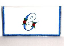Red Rose on Turquoise initial G White Cotton&Vinyl Checkbook cover New Handmade