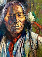 Native America Elder Western Art Collector Original Oil painting COLORFUL