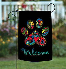 Toland Wacky Welcome Paw 12.5 x 18 Colorful Neon Cat Dog Pet Garden Flag