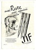 Ancienne publicité des années 40 des stylos JIF ~ 27x37 cm ~ FRFN180