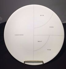 """White Ceramic PORTIONS Dinner Plate by PROPAGANDA - 10.5""""  - DIETING PLATE"""