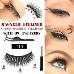 3 Pairs Magnetic Long False Eyelashes Set With Waterproof Eyeliner And Tweezers