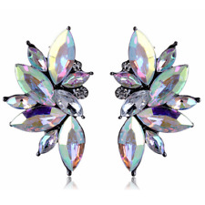 Gorgeous White Rainbow Crystal Cluster Stud Statement Earrings
