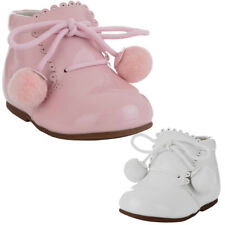 BABY TODDLER GIRL BOY SPANISH PATENT POM POM LACE UP WHITE ANKLE WALKING BOOTS