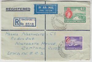 SINGAPORE 1959 $2, 30c on registered cover *SINGAPORE-LONDON*