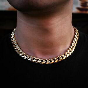 Miami Cuban Link Chain 1ct Diamond Clasp 18k Yellow Gold Heavy Necklace Choker