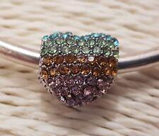PAVE SPARKLY RHINESTONE RAINBOW LOVE HEART BEAD Silver European Charm Bracelet