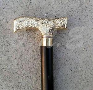 Victorian Walking Stick Cane Vintage Handle & Brass Black Wooden Vintage Style