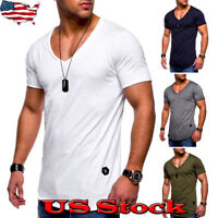 Men's Short Sleeve V Neck T-shirt Muscle Tee Shirts Casual Slim Male Top Blouse