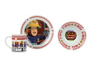 Fireman Sam Breakfast Set 3PC Coloured Breakfast Set- Plate,Bowl, Mug