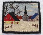 Semi-Antique American hooked rug wool yarns on burlap 10in x 12in winter scene