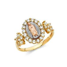 14k Real Solid Tri-color Gold CZ Virgen de Guadalupe Ring Oro Solido Anillo