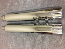 HARLEY EXHAUST SLIP ON MUFFLERS TOURING CHROME END CAPS 64900257 & 64900256