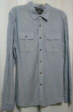Men's Rag Dynasty Long Sleeve Blue Stripe Button Front Shirt Size M Medium 1095