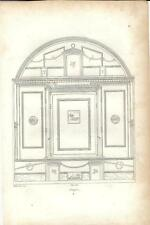 Stampa antica POMPEI decorazioni murarie Napoli 1834 Old antique print Engraving