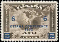 1932 Canada Mint F-VF Scott #C4 (C2 Surcharged) Air Mail Issue Stamp Hinged