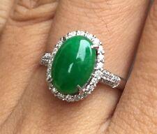 100% Genuine Certified Grade A Jade Natural Vivid Green Jadeite Diamond Ring
