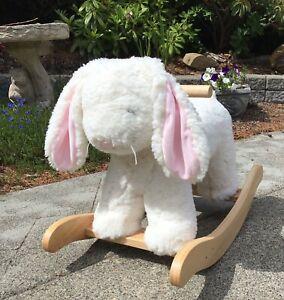 "PB Kids SHERPA Bunny Rabbit PLUSH ROCKER 25.5"" Nursery Toy Wooden Handles +"