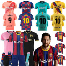 20/21 FCB Barcelona Kids Football Kit Soccer Jersey Suits MESSI #10 Shorts+Socks