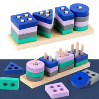 Wooden Geometric Block Building Stacker Shape Sorter Column Puzzle Stacking Toy